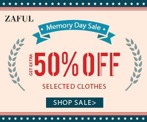 Memorial Day:  Get Extra 50% OFF to Select Women's Clothes Sales 2017 at Zaful.com! Ends: June,7.2017