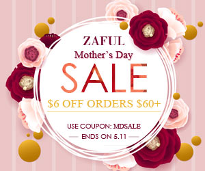 "Enjoy $6 OFF on Orders Over $60 with Code ""MDSALE"" for Mather's Day Sale at Zaful.com! Ends: Mar.11, 2017"