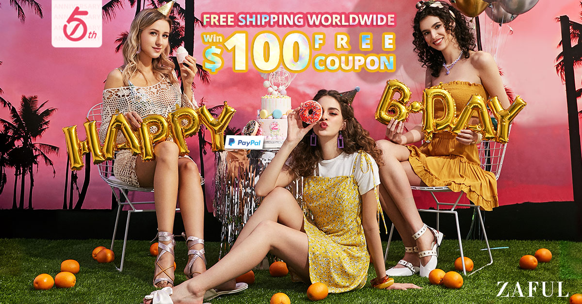 FREE SHIPPING WORLDWIDE - ZAFUL 5TH ANNIVERSARY 72 HOURS ONLY! HURRY UP! 6.17-6.20