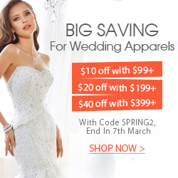 $10 OFF with $99+, $20 OFF with $199+, $40 OFF with $399+ Only for all Wedding apparels