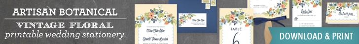 Artisan Botanical Vintage Floral Wedding Invitation Printables