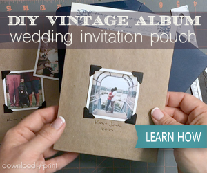 DIY Vintage Album Wedding Invitation Pouch