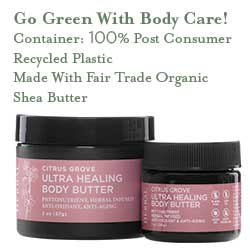 Go green with recycled plastic and organic Fair Trade shea butter!