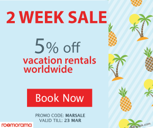 Two weeks sale - 5% off vacation rentals worldwide. Book yours now on Roomorama.com! Promo code: 'MARSALE' ends Mar 23, 2017