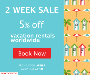 Two weeks sale - 5% off vacation rentals worldwide. Book yours now on Roomorama.com! Promo code: 'APRIL5' ends Apr 23, 2017
