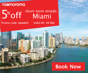 "Promo code ""miami5"" for 5% off vacation rentals in Miami"