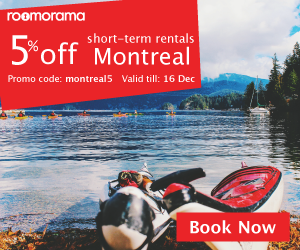 "Promo code ""montreal5"" for 5% off vacation rentals in Montreal"