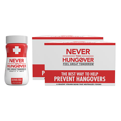 Never Too Hungover - the best way to prevent hangovers!
