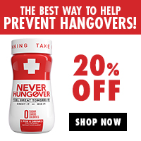 Get 20% off at NeverHungover.com - the best way to prevent hangovers!