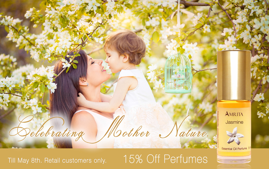 15% off Amrita Aromatherapy organic perfumes