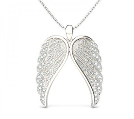 Jeulia Vintage Angel Wings Created White Sapphire Pendant Necklace