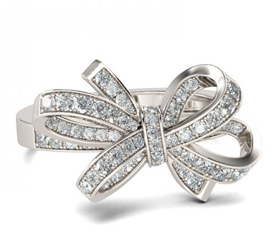 Jeulia Bowknot Round Cut Created White Sapphire Promise Ring