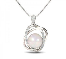 Jeulia Design Interlocking Circle Pearl Pendant Necklace