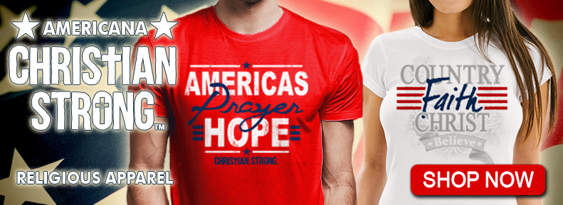 red, white, blue selection of Christian Strong Patriotic Tee Shirts
