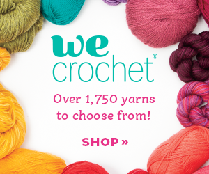 WeCrochet ad with colorful balls of yarn around the edge
