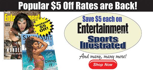 $5 off popular magazines