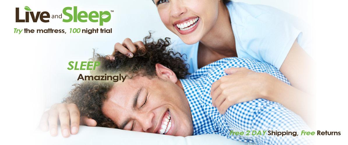 Fun couple on mattress
