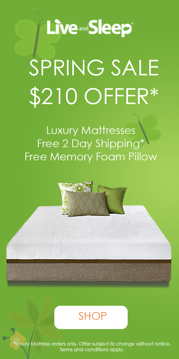 $150 off Live and Sleep Luxury Memory Foam Mattress + 2 Day Free Shipping + 1 Free Pillow. Use LUXURY2019 at checkout. *limited time only