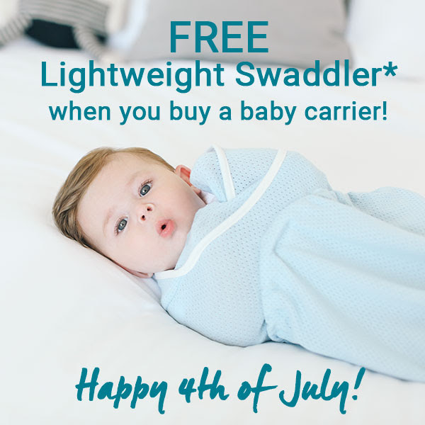 Purchase ANY Baby Carrier and receive a Lightweight Swaddler for FREE.*  Just choose your free Lightweight Swaddler at checkout.