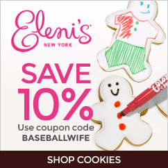 Save 10% with code BASEBALLWIFE at Eleni's