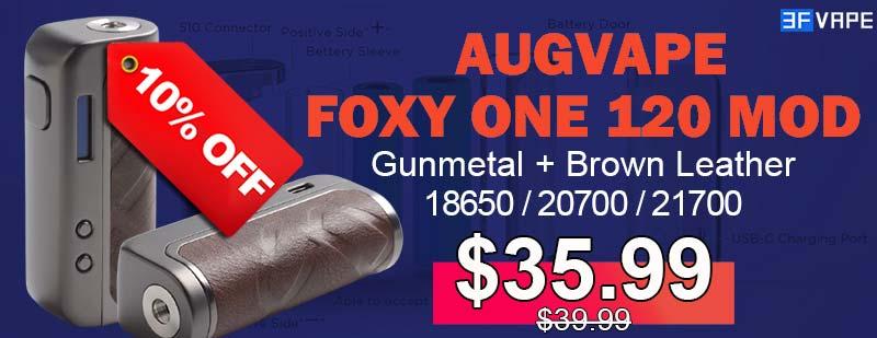 3FVape - Augvape Foxy One Mod Gunmetal+Brown Leather Flashsale