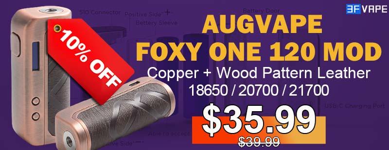3FVape - Augvape Foxy One Mod Copper+Wood Pattern Leather Flashsale