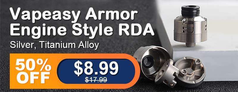 3fvape.com - Vapeasy Armor Engine Style RDA Silver Titanium Alloy Flash Sale