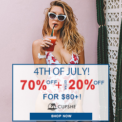 4th of July! 70% Off+Extra 20% Off for $80+!  Shop  Now!