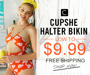 Cupshe Halter Bikin! Low to $9.99! Free Shipping! Shop Now!