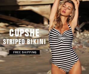Cupshe Striped Bikini! Free Shipping! Shop Now!