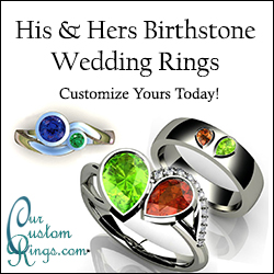 His and Hers Birthstone Engagement Rings and Wedding Bands