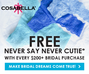Free Cutie Thong with your Wedding Night White.  Here's your 'something new'.  Free Never Say Never Cutie with every $200+ Bridal Purchase.  And here's your 'something blue'.  Make bridal dreams come true!USA orders $100+ receive free ground shipping.