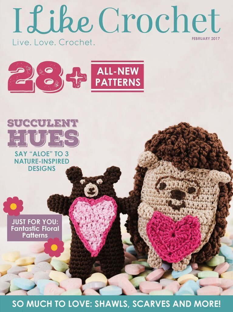 "Optional Crochet Copy: The February issue of I Like Crochet Magazine is now available for download or viewing. Warm your heart with lovely crochet patterns to give your valentine or to treat yourself! Say ""Aloe"" to nature-inspired designs, and ditch the e"