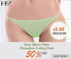 Flash Sale! 50% OFF, US$5 for PPZ Women's Sexy G-string Panty Micro Fiber Rhinestone Green