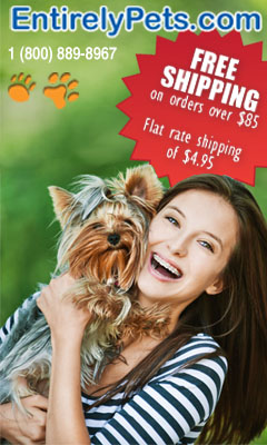 Free shipping on orders over $85, flat rate shipping from EntirelyPets.com