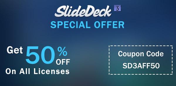 SlideDeck3 Special Offer 50% Off 600X295