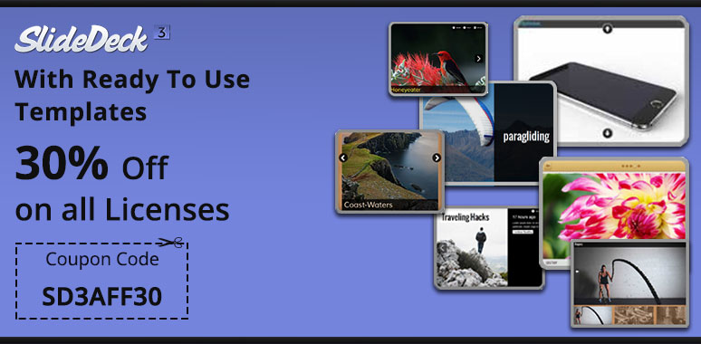 30% off on SlideDeck3 with 11 ready-to-use templates. Use Coupon code - SD3AFF30.