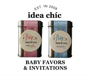 A Baby is Brewing baby favors and invitations by idea chic