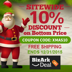 Sitewide extra 10% off on bottom price. Use code XMAS10. Free shipping. Offer ends 12/31/2015.