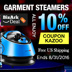 Garment steamers all 10% off with code KAZOO, plus free US shipping. Ends 8/31/2016.