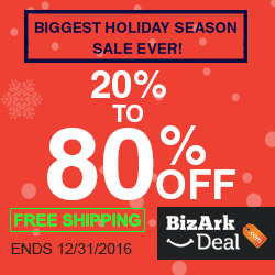 Biggest holiday season sale! 20% to 80% off! Free shipping! Ends 12/31/2016.