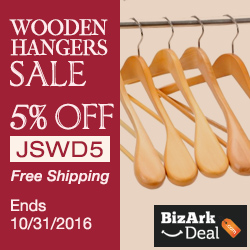 Wooden hangers sale! Enjoy 5% off, code JSWD5. Free shipping. Ends 10/31/2016.