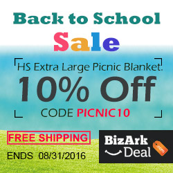 Back to school! HS extra large picnic blanket 10% off, code PICNIC10. Free US shipping. Ends 8/31/2016.