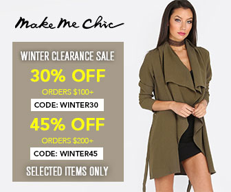 Save on Winter Styles at MakeMeChic!  Save 45% on orders over $200 with code WINTER45 - Ends 2/28