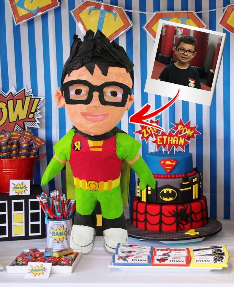 10% Off Custom Super Hero Pinata Add AS MANY specific features as you want!