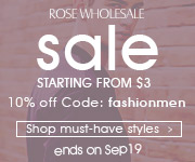 "Use the coupon code ""FASHIONMEN"" at Rosewholesale for your enjoy!"