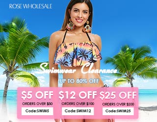 "Enjoy Extra $25 OFF with code ""SWIM25"" on orders $200+ for swimwear clearance at Rosewholesale.com! Ends: 7/31/2018"