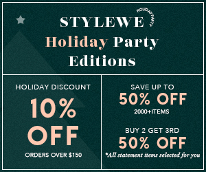 10% Off Over US$150, Save Up to 50% Off 2000+ Items, Buy 2 Get 3rd 50% Off, Stylewe Holiday Party Editions