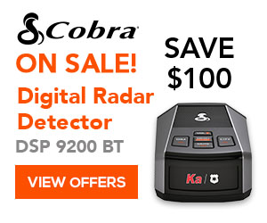 Save up to $100 on Cobra Digital Radar Detectors