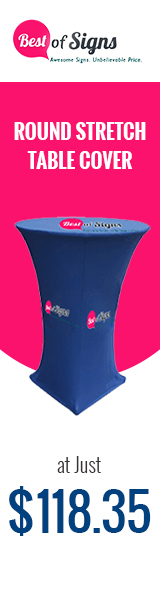 Customize your presence at corporate events with visually appealing Round stretch table covers that are bound to make a statement